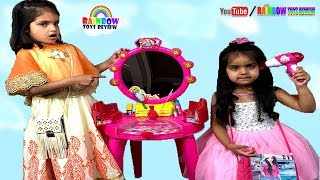 Ashu & Cutie Make Up Pretend Play with Barbie Beauty Studio Kids Toys - Rainbow ToysReview
