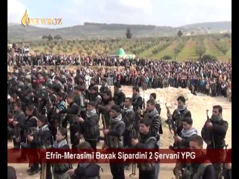 Syria military ceremony of killed Kurdish soldiers