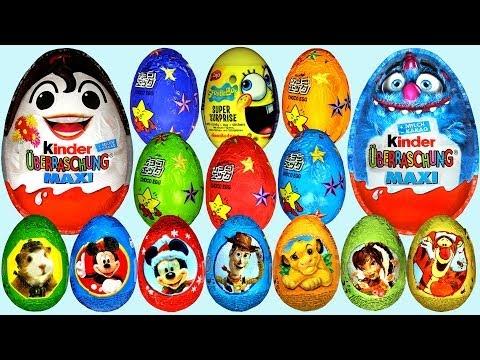 50 Surprise eggs Kinder Surprise Cars Donald Duck Mickey Mouse