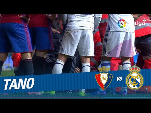 Lesión de Tano en el Osasuna vs Real Madrid (1-3)