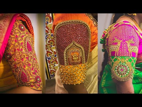 Latest Best Selling Designer Maggam Work Hand Designs for Blouse with Saree Ideas and Updates