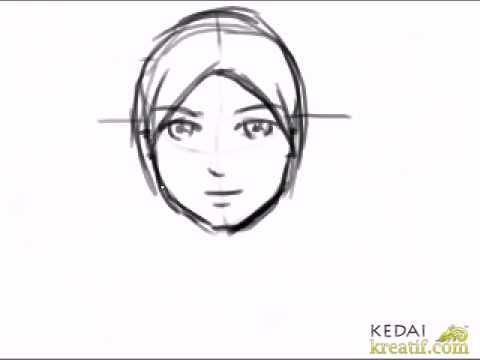cara lukis kartun wanita bertudung