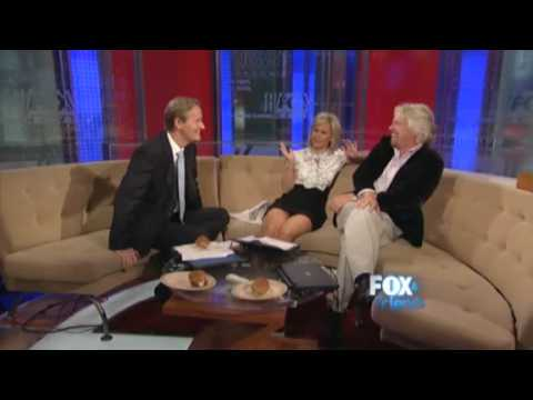 Sir Richard Branson on Virgin Airlines 25th Anniversary; Almost Sweeps Gretchen Carlson Off Her Feet