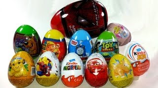 12 Surprise Eggs Unboxing Kinder Surprise, Cars, Kinder Joy, Toy Story, Lion King...