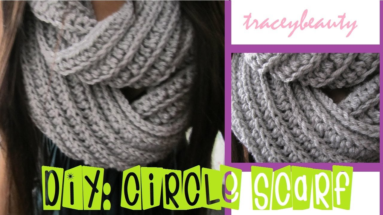 Youtube Crocheting A Scarf : DIY: Knit-Like Circle Scarf(Crochet Tutorial) - YouTube