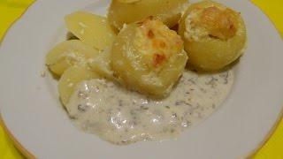 Картофель фаршированный фаршем и сыром. Готовим в духовке.  Вторые блюда