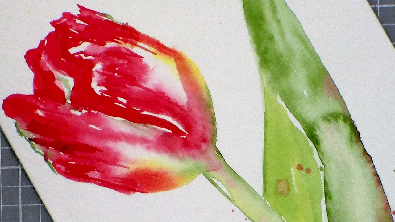 Tulip watercolor painting tutorial for beginners youtube for How to watercolor for beginners