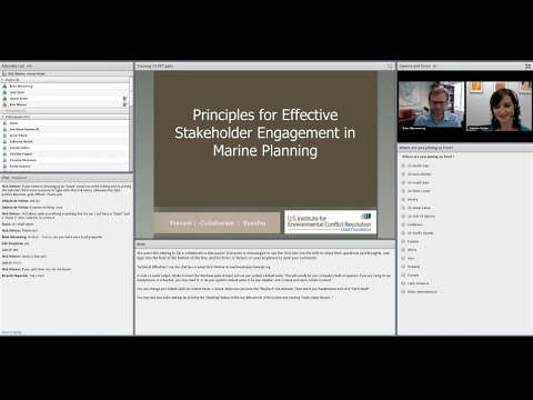 Principles for Effective Stakeholder Engagement in Marine Planning: Training #2
