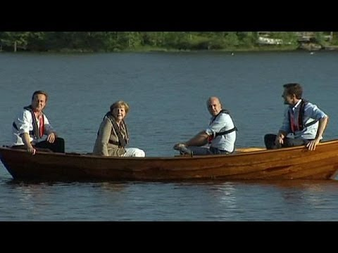 Angela Merkel and three PMs go rowing in Sweden - no comment
