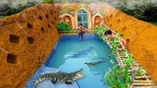 Build Swiming Pool Crocodile Around The Secret Underground House