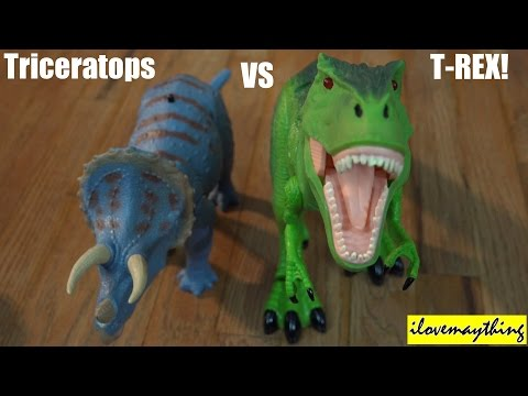 Dinosaur Toys: R c T-rex Vs Triceratops Dinosaurs Unboxing & Playtime 2 Of 2 video
