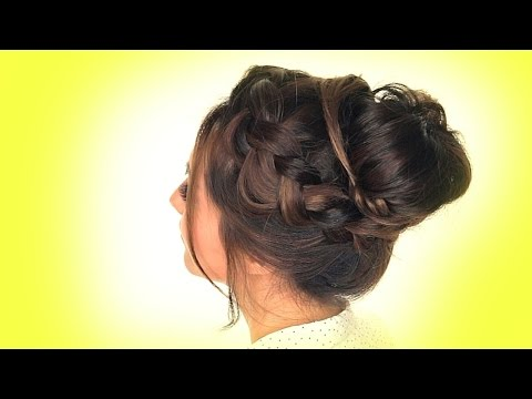 ★SCHOOL HAIRSTYLES | MESSY Crown BRAID Bun Hairstyle
