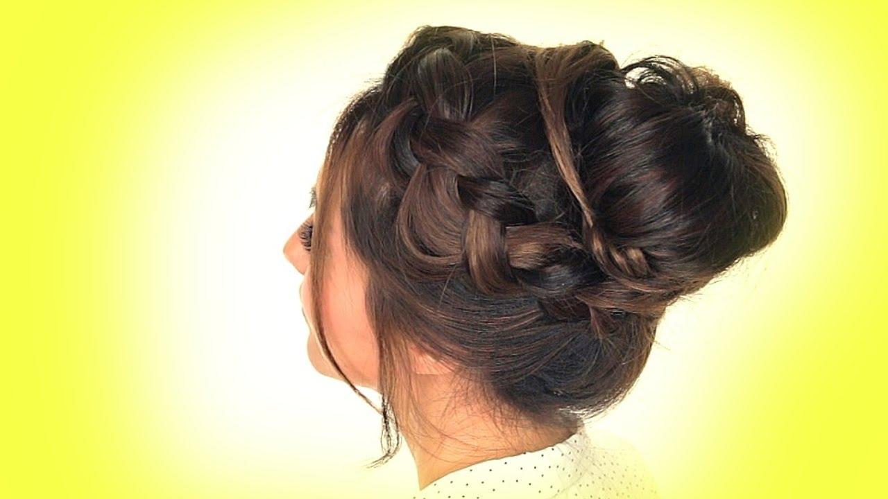 ˜�school Hairstyles Messy Crown Braid Bun Hairstyle Youtube