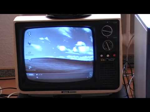 Computer connected to a black & white tv