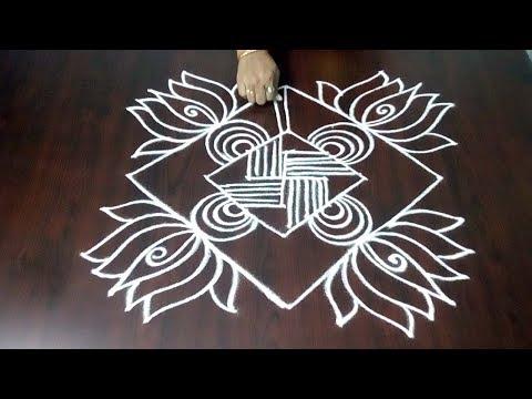 Latest Lotus Flower Design With Lines  5 x 1 ||  Lotus Muggulu || Fashion World