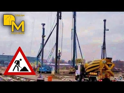 INSANE CONSTRUCTION SITE WITH 4 GIANT DRILL RIGS ++ PILE DRIVER HITACHI