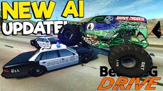 Insane First Person Monster Truck Chase with the New AI! - BeamNG Gameplay & Crashes - Cop Escape