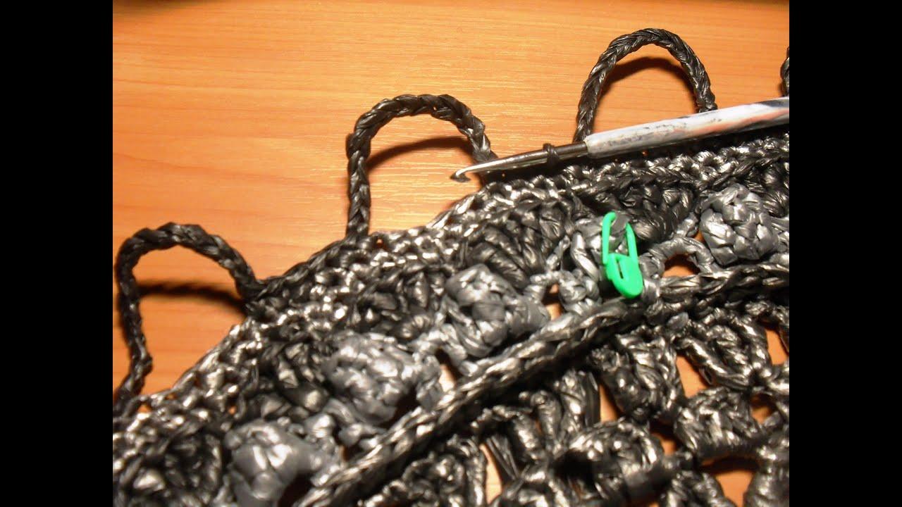 Вязание крючком овального коврика из полиэтиленовых пакетов 12