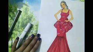 Flower Print Gown / For Beginners/ Fashion Illustration