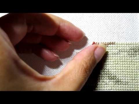 Как закрепить нитку при вышивке полукрестом 94