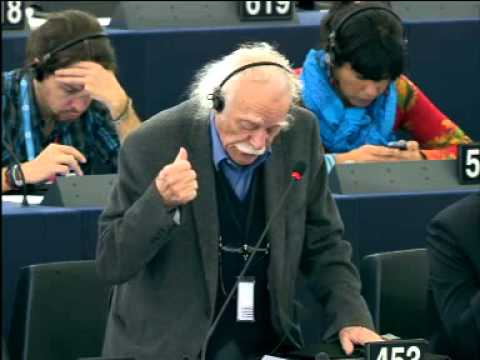 Manolis Glezos at EU Parliament - Greece will set the example to all Europe (subs)