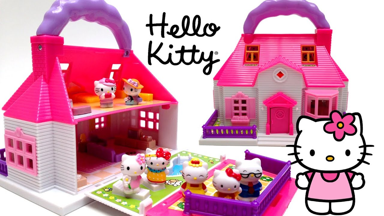 Hello Kitty Mini Doll House Carry Along Play Set Casa de Muñecas