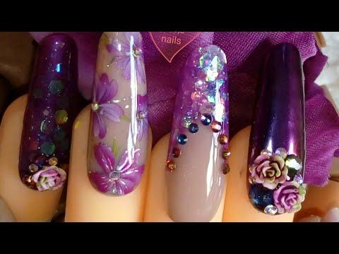 Bluesky gum gel sculpting purple long almond nails