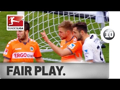 Last season, Bremen's Aaron Hunt and Bundesliga 2 side Fürth's Florian Trinks produced some extraordinary displays of fair play. We count down the top 10 fair-play moments in the history of...