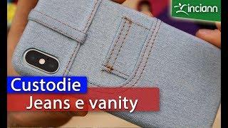 iPhone X XS: Custodia Blue Jeans e Vanity con specchietto e porta schede.