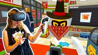 I GOT ROBBED IN THE SLUSH E MART Job Simulator | Kunicorn Plays VR