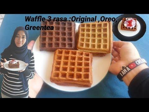 Waffle 3 rasa yang simple :rasa original, oreo,greentea
