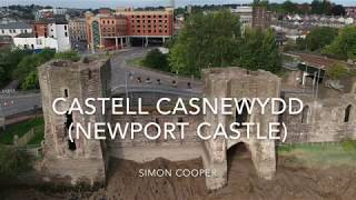 Wales - The Ruins Of 14th Century Castell Casnewydd (Newport Castle)  From The Air / DJI Spark Drone