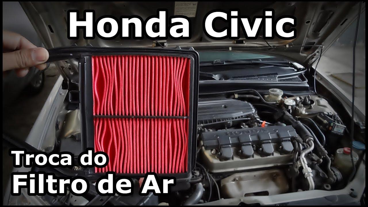 Honda Fit Lx >> Honda Civic - TROCA DO FILTRO DE AR - Replacing the air filter - YouTube