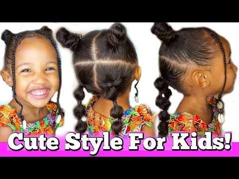 Kid's Hairstyle with Bantu Knots and Bubble Braids! | Back to school hairstyle ideas