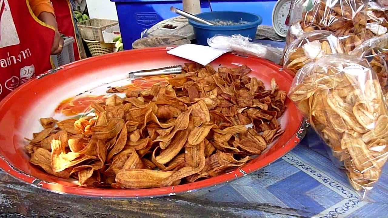 Lao Food - Fried Banana Chips and Sweet Potato in Laos - YouTube