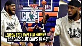 LeBron James Gets SUPER HYPE After Bronny DUNKS!! Coaches Bronny & Blue Chips To UNDEFEATED Record!!