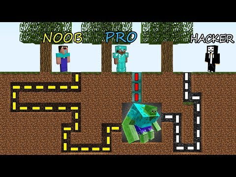 Minecraft Battle: NOOB vs PRO vs HACKER: SURVIVAL IN ZOMBIE MAZE in Minecraft MAP!