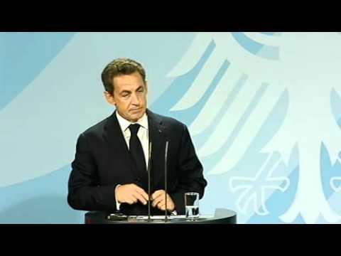 Unterrichtung nach Gespräch Bundeskanzlerin Angela Merkel mit Staatspräsident  Nicolas Sarkozy