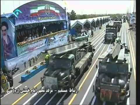 Iran Iranian army armed forces military equipment power armoured vehicle missile parade.flv