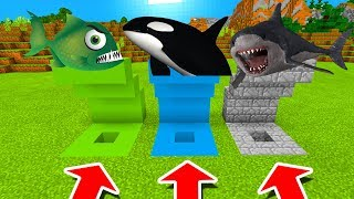 Minecraft PE : DO NOT CHOOSE THE WRONG HOLE! (Piranha, Orca & Megalodon)