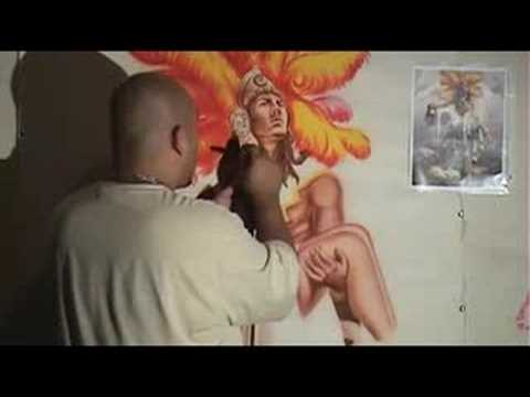 Aztec Warrior Airbrush Mural