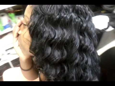 Invisible hairline sew in. Deep wave hair