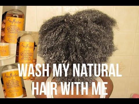 Wash My Natural Hair With Me ft SheaMoisture Low Porosity   KinkyCurlyCoilyMe.com