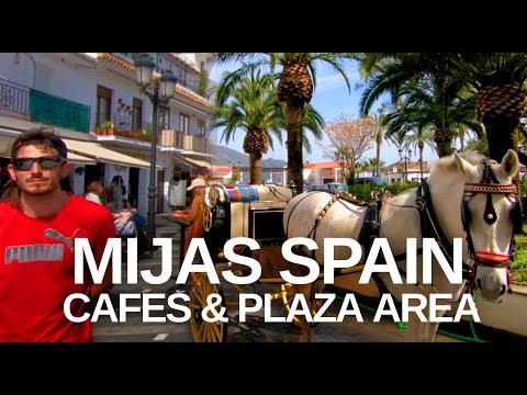 [4K] MIJAS, MALAGA, SPAIN TOUR - Main Plaza, donkeys and views
