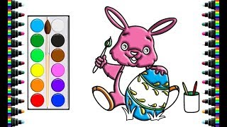 How to draw rabbits and eggs for children - drawing and coloring for kids - bé yêu