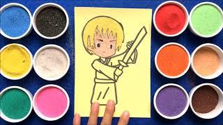 Đồ chơi trẻ em TÔ MÀU TRANH CÁT OTAKU NHẬT BẢN - Learn Colors Sand Painting Toys (chị Chim Xinh)