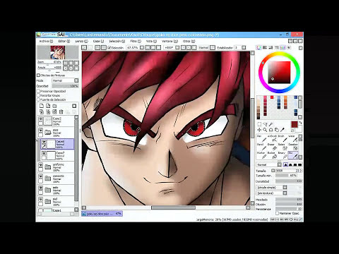 Dibujando a Goku SSJ Dios (Dragon Ball Z) / Drawing Goku SSJ God (Dragon Ball Z) / スーパーサイヤ人神描いてみた