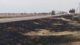 Northwest Oklahoma wildfire relief. Hay convoy.
