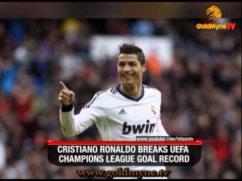 GOLDMYNETV: CRISTIANO RONALDO BREAKS UEFA CHAMPIONS LEAGUE GOAL RECORD