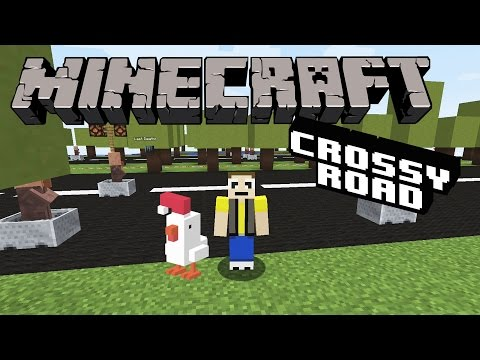 Let's Play MINECRAFT CROSSY ROAD!  Watch out for the TRAAAAIIIN!!!